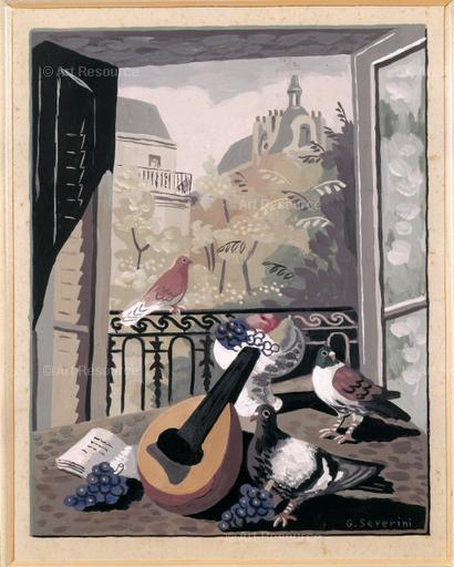 Gino Severini © ARS, NY  Window with Doves, 1930.