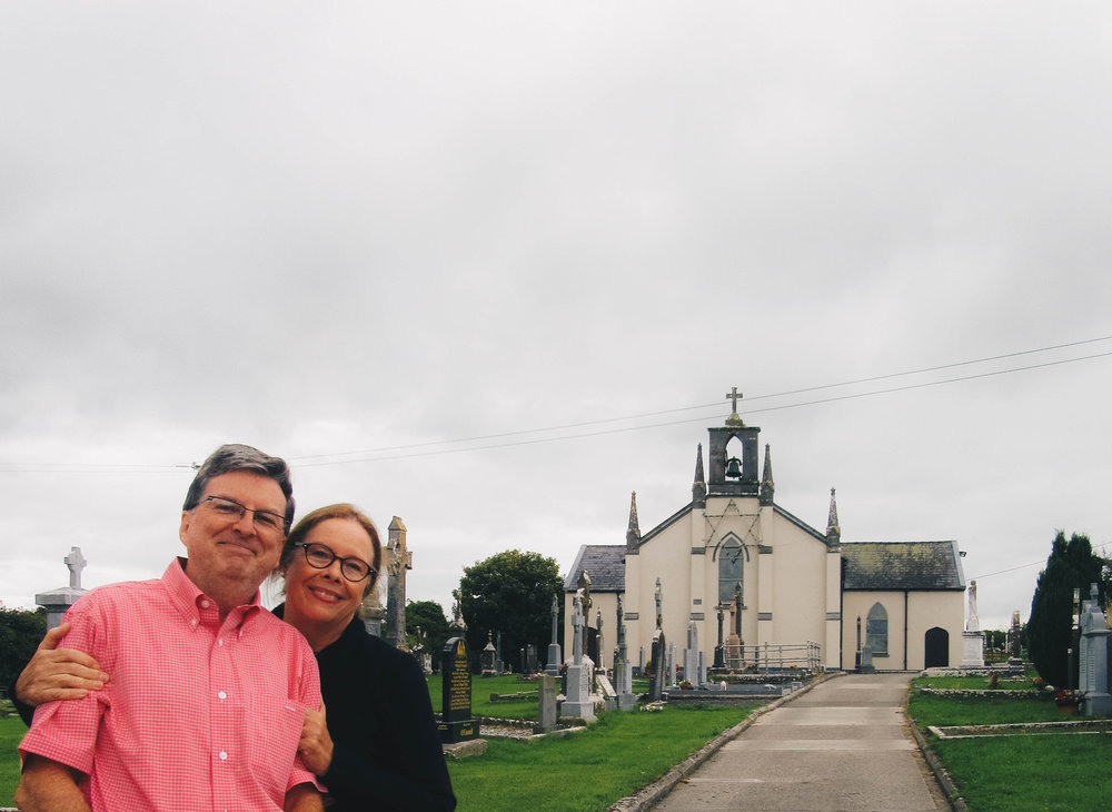 Mom and dad at the church in Galmoy, Ireland where my dad's family is from and his great aunt Judy is buried.