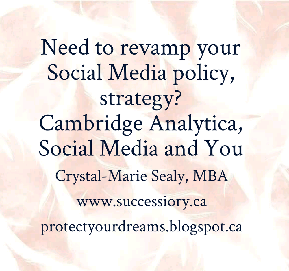 Social Media Strategy. Cambridge Analytica. Your Policy