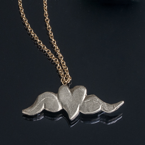 Gold necklace silver heart and wings