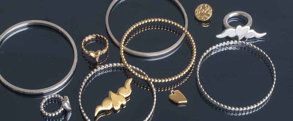 Gold and silver bangles, rings and pendants