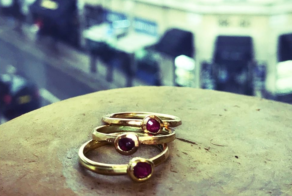 Oriana Jewellery bespoke gold and ruby rings