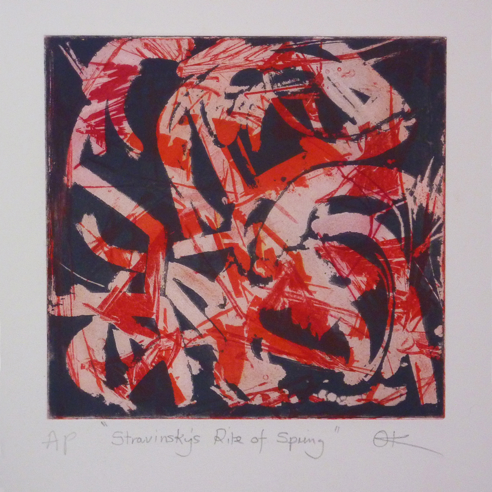 Stravinsky's Rite of Spring, Hand-coloured etching, 34.5 x 33.5 cm