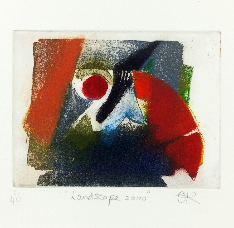 Landscape 2000, Hand-coloured etching, 32 x 37.5 cm