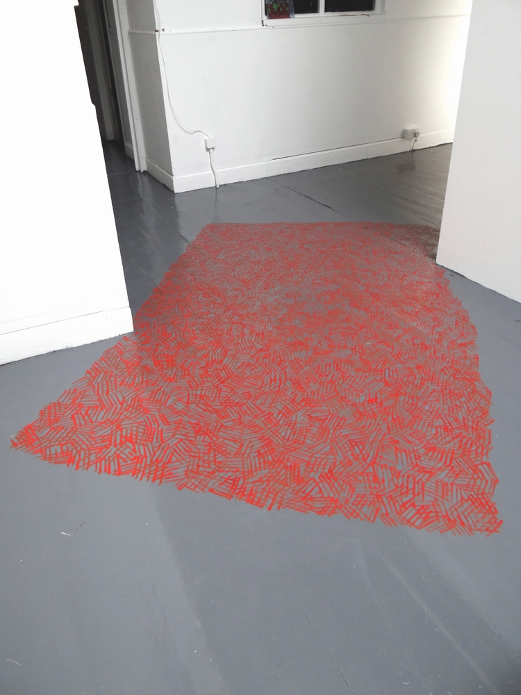 Across Hatching, 2013, Acrylic paint on floor, 240 x 170 cm