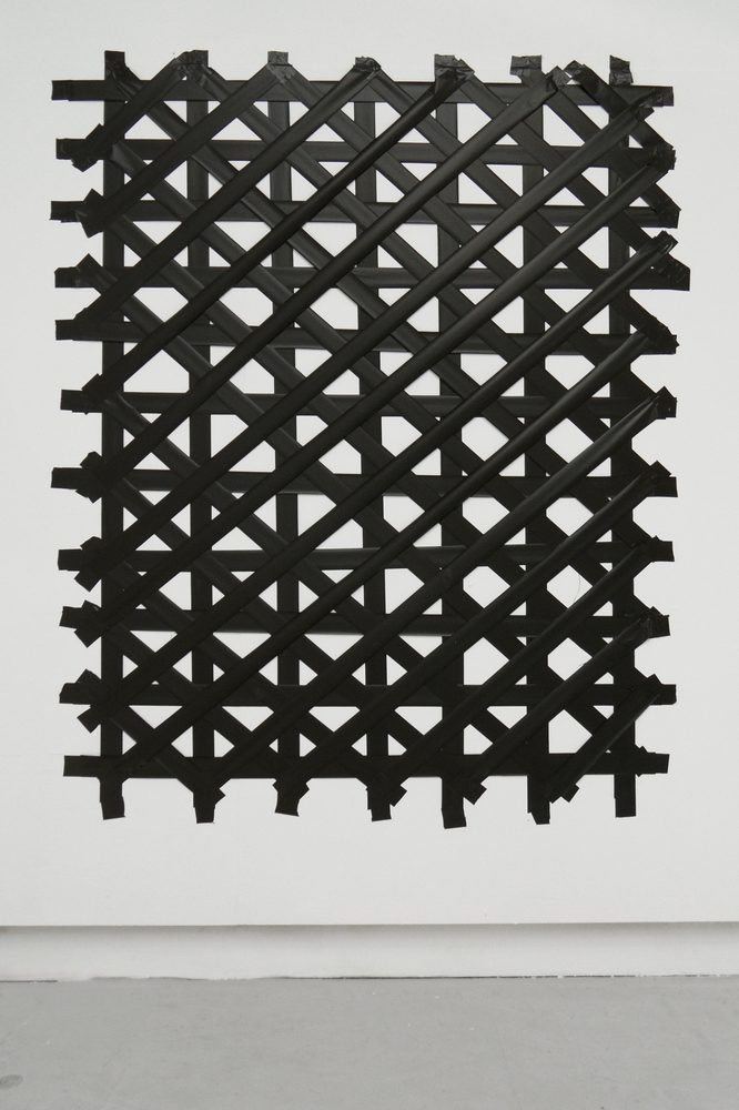 Black Grid, 2012, Plastic Band and tape, c.150 x 180 cm