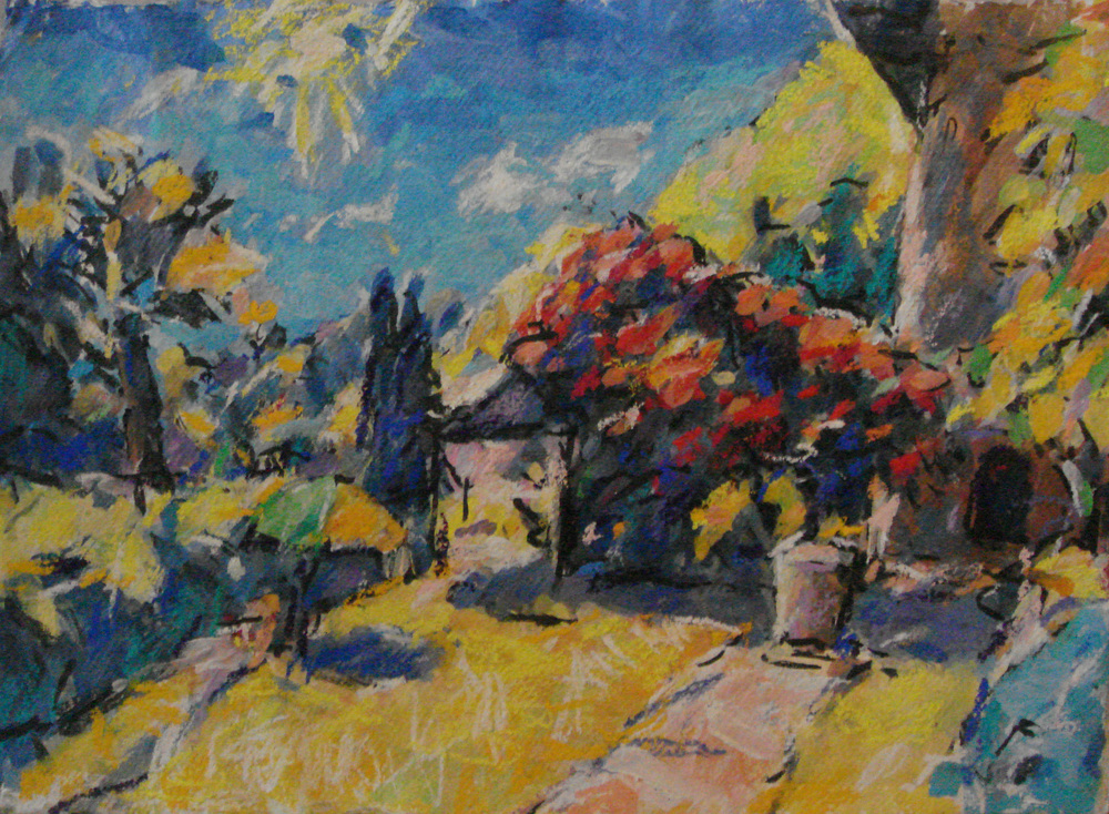 Lugano, Tom Davies, oil and pastel on paper, SOLD