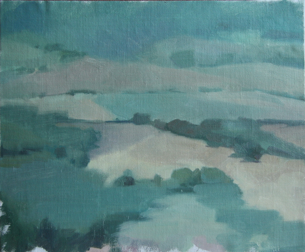 View from Monte Serate, Clare Haward, oil on canvas, 30 x 35 cm, £1,100