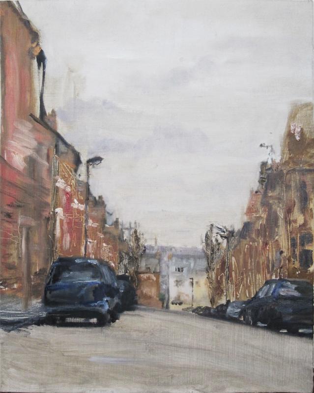 Highbury Hill, Tim Betjeman, oil on board, 29 x 32 cm, £900