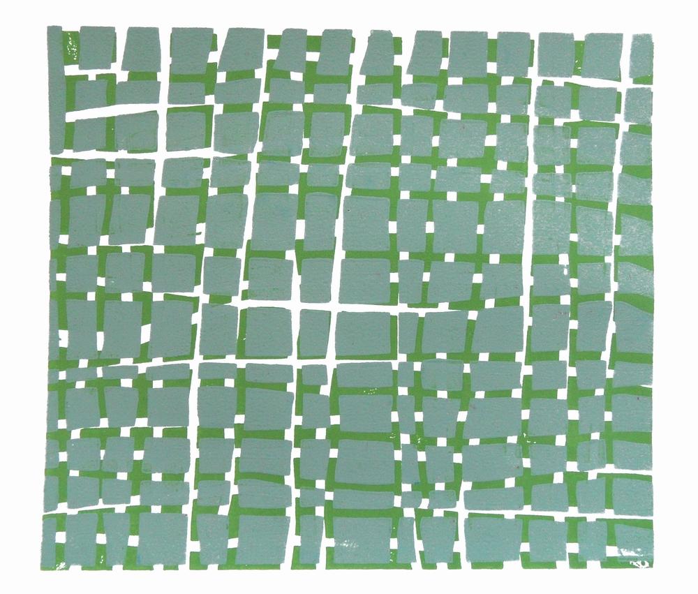 Woodblock Grid (Grey and Green), Vera Boele-Keimer, relief woodblock print, 25 x 22 cm, £240