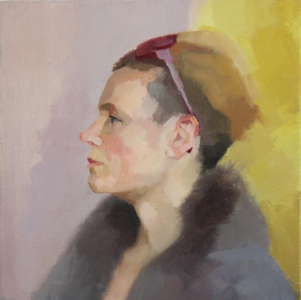 Natalia, Clare Haward, oil on linen, 38 x 38 cm, £950
