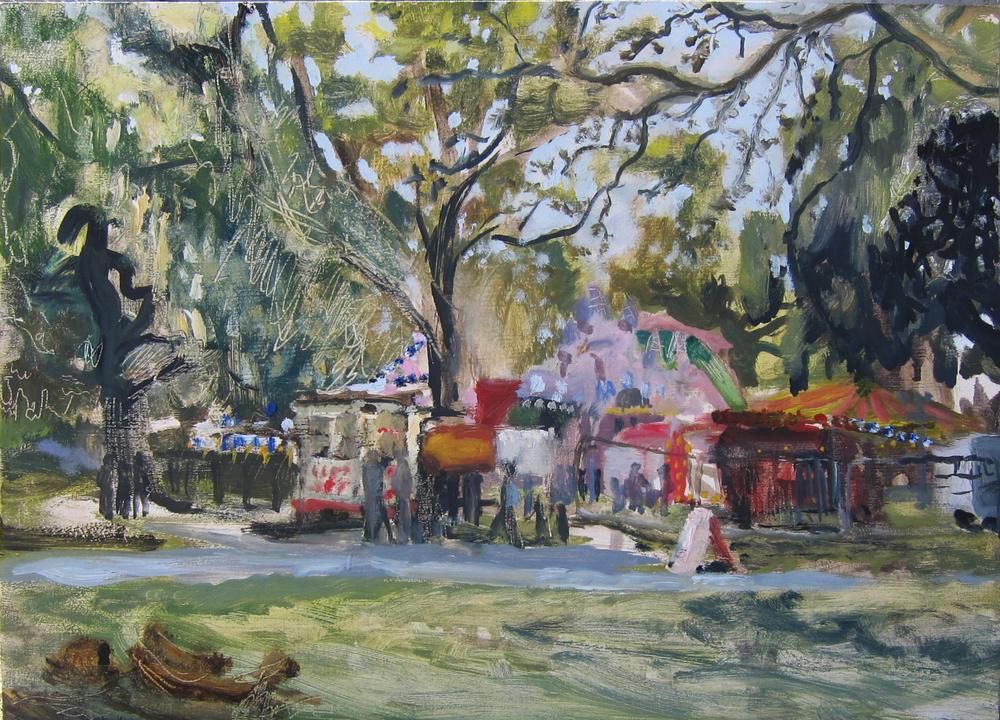 Timothy Betjeman, Kennington Fair, oil on board, 24 x 30 cm, SOLD