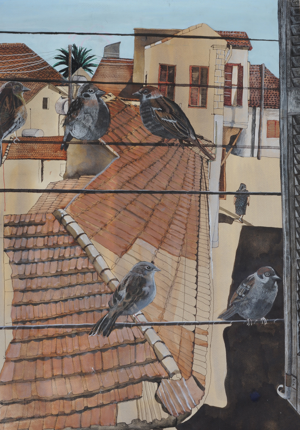 Sparrows, 2014, mixed media on paper