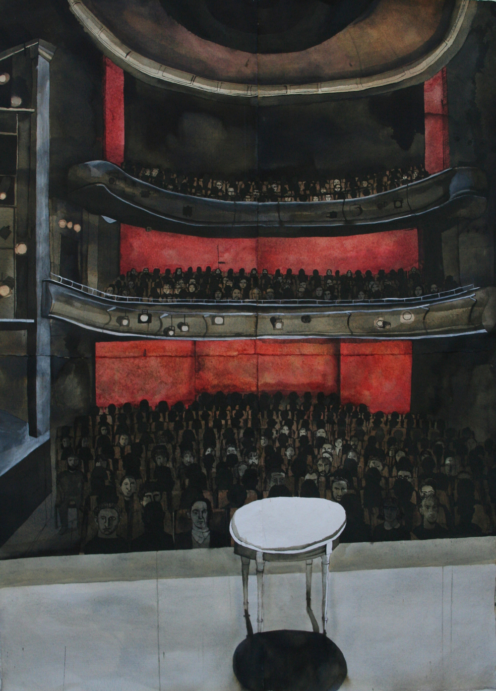 Full House at the Royal Court, 2012, mixed media on paper