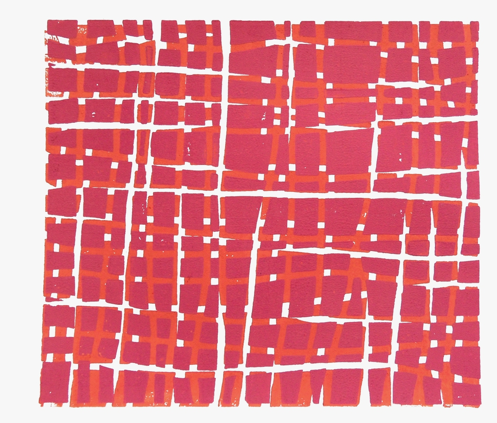 Woodblock Grid – Red and Pink, 2012, Vera Boele-Keimer (Relief print on Fabriano paper; 25 x 22cm)