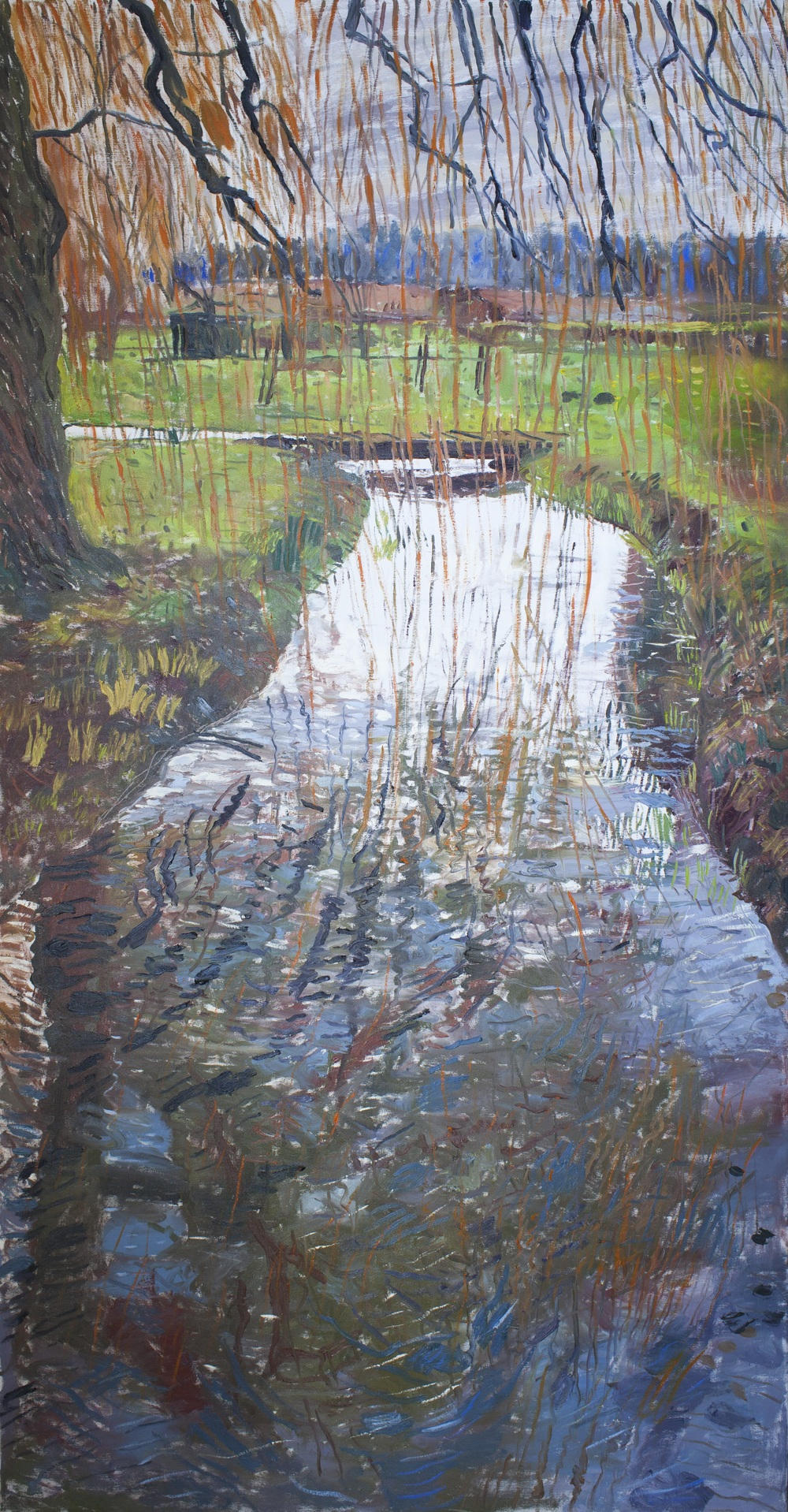 "Christchurch Winter (River at Burnham Thorpe),2013,Oil on linen,75"" x 39"""
