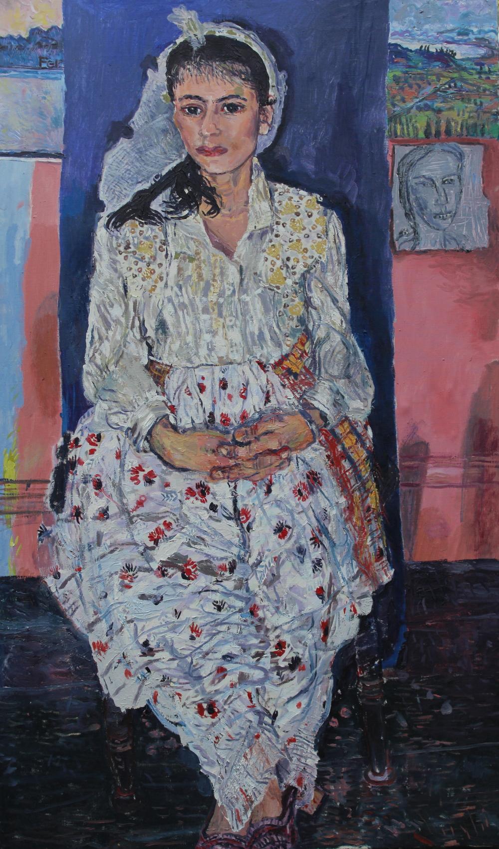 """Albanian Girl,2014,Oil on linen;50"""" x 30"""""""