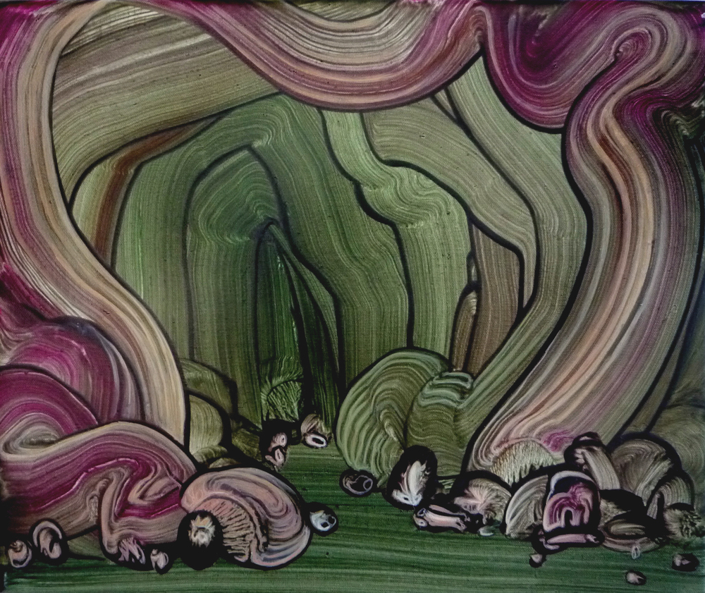 Cave Painting (Green, Pink), 2013, oil on canvas, 30 x 40 cm