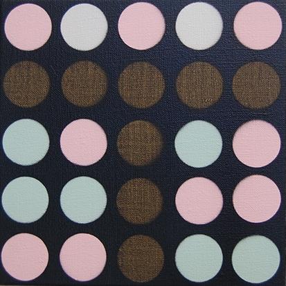 Pink Mint , 2016, acrylic on flax, 30 x 30cm