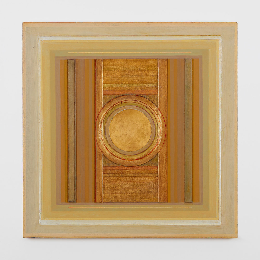 "Janicon XCV, 2005, 24"" x 24"", silver and gold leaf on gessoed board on canvas"