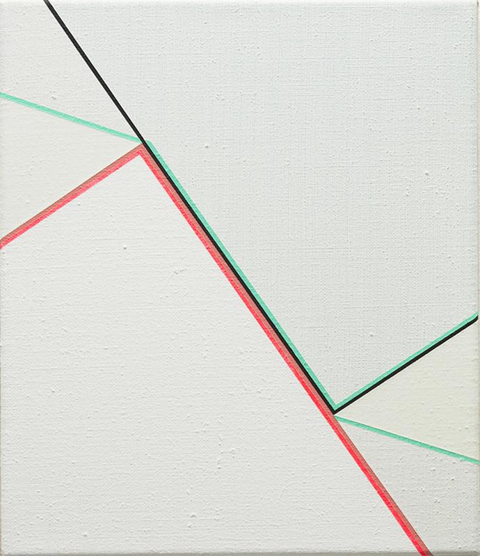 Colourway Vert Veronese-Flame, 2017, Acrylic on Linen, 35 x 25 cm