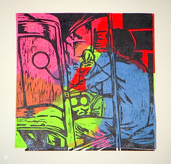 Woodcut, chine colle  2011