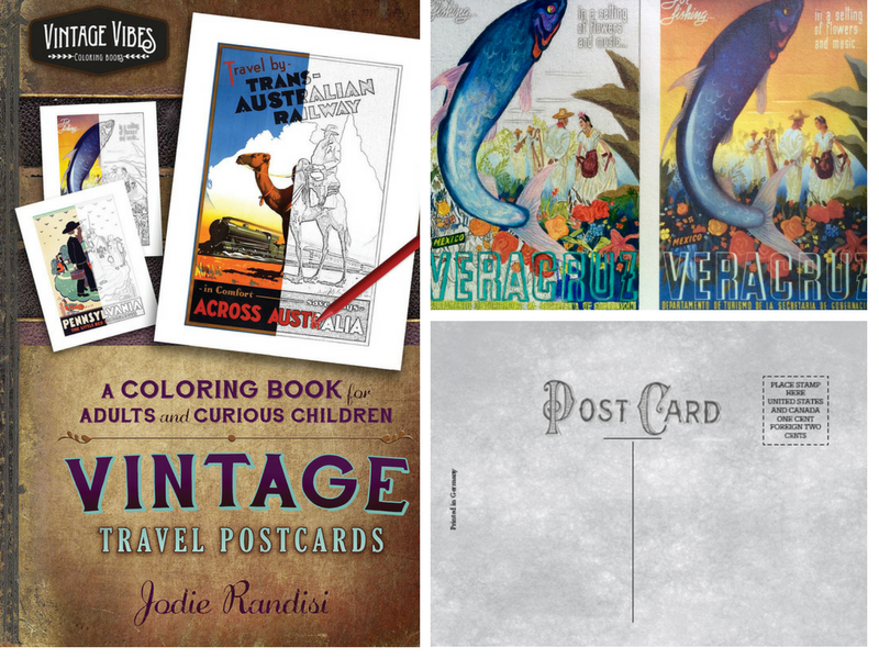 Vintage Travel Postcards - Volume 1, Vintage Vibes Coloring Books