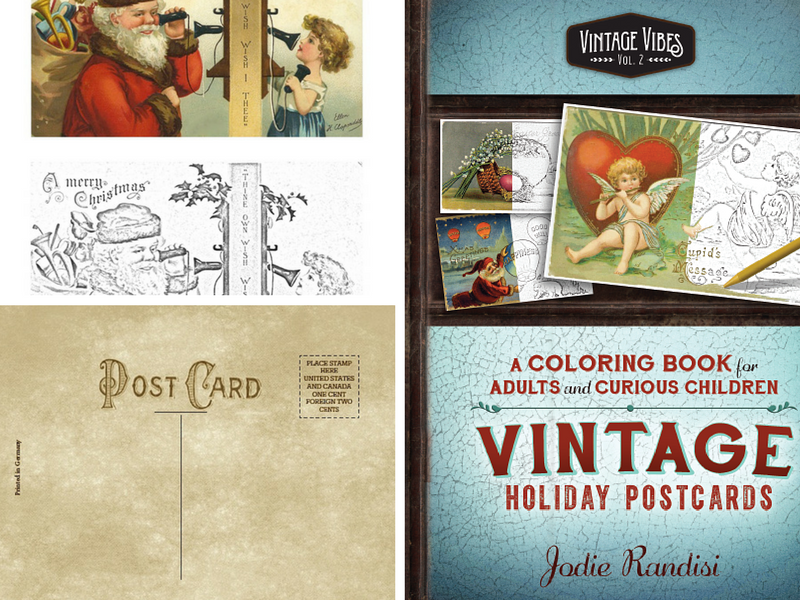 Vintage Holiday Postcards   - Volume 2, Vintage Vibes Coloring Books