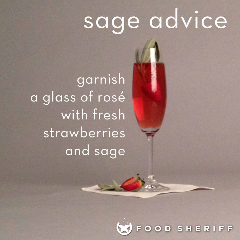 The fragrance of the sage and sweetness of the fresh juicy strawberry dress up this glass of sparkling rosé nicely.