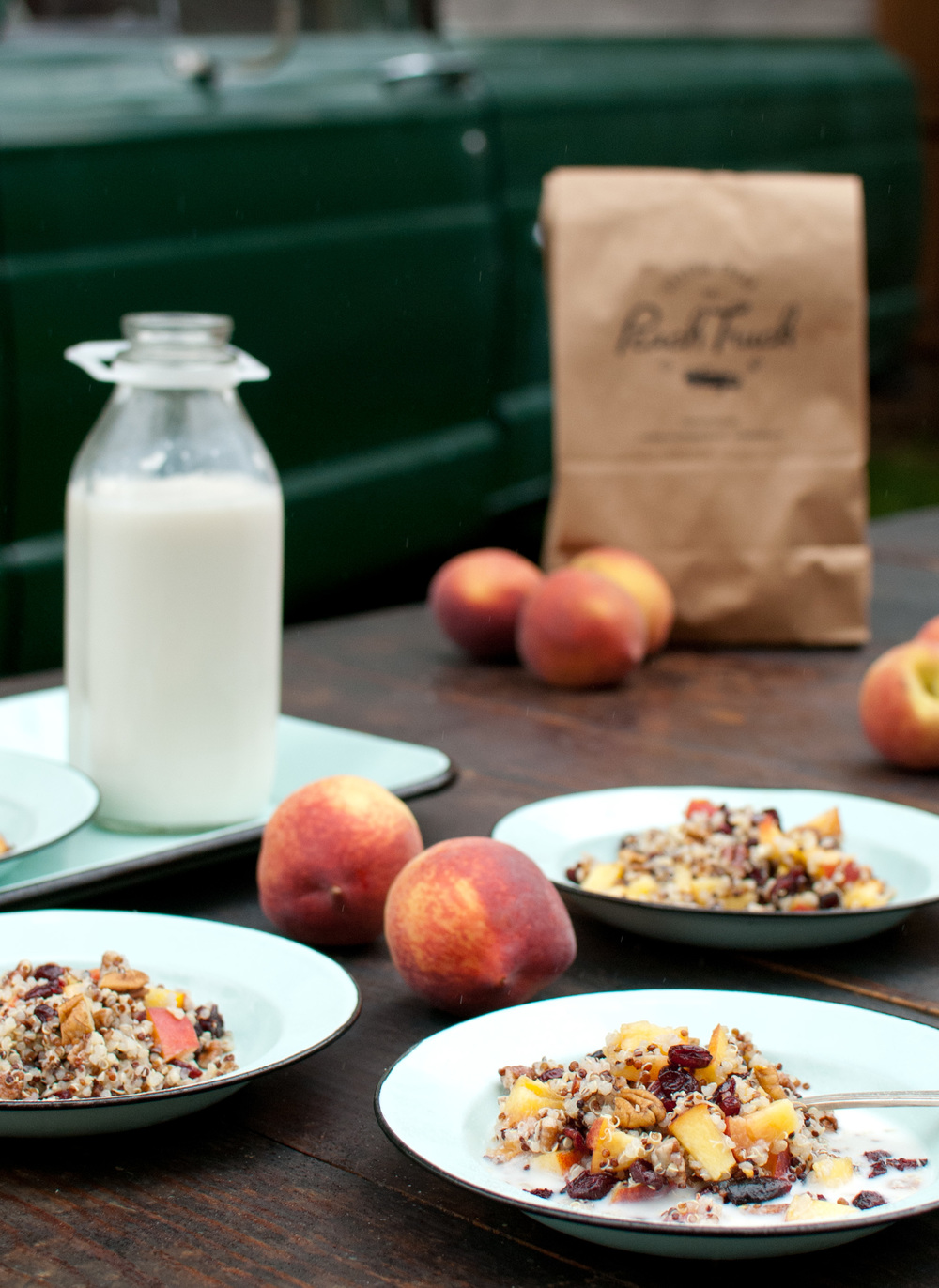 Food Sheriff | Recipe Development | Cold Quinoa Breakfast Cereal with Peaches and Pecans