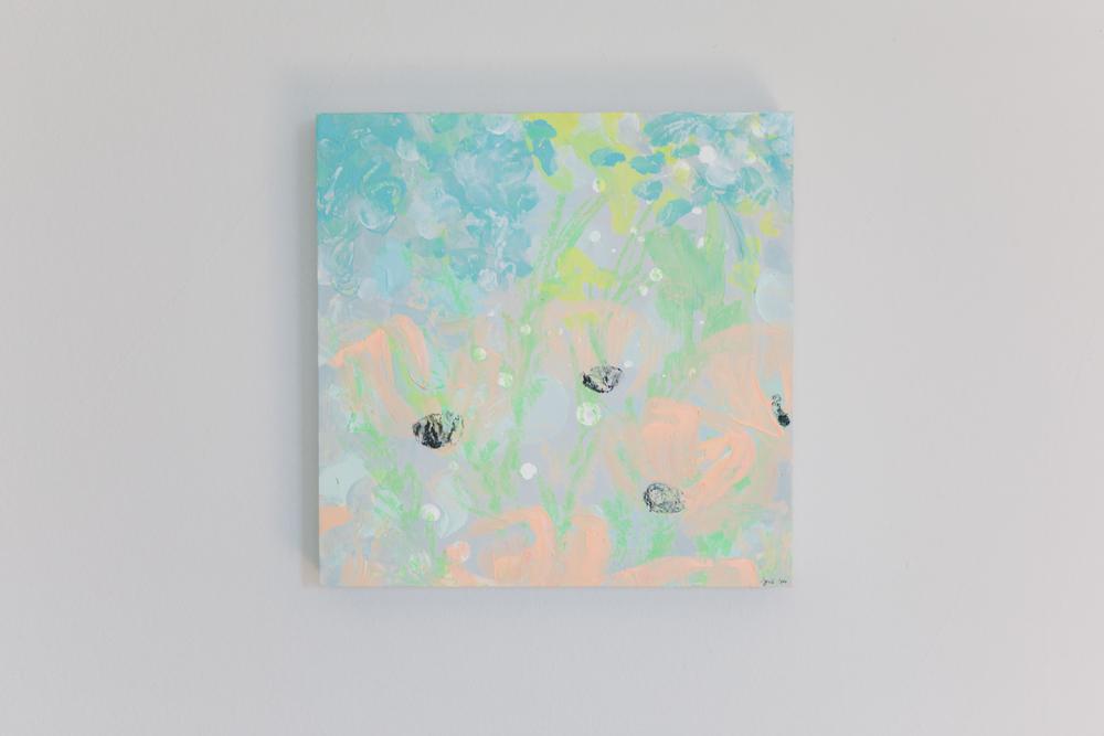 Peach Icelandic Poppies. Acrylic on birch panel . 12 x 12 inches . $245.