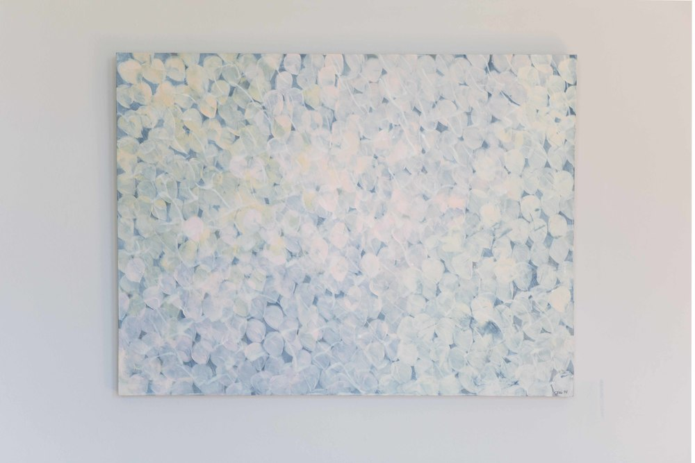Snowberries. Acrylic on birch panel. 40 x 30 inches. $580.