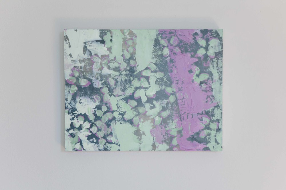 Flowering Oregano. Mixed media on birch panel (acrylic and oil pastel). 14 x 18 inches. $290.