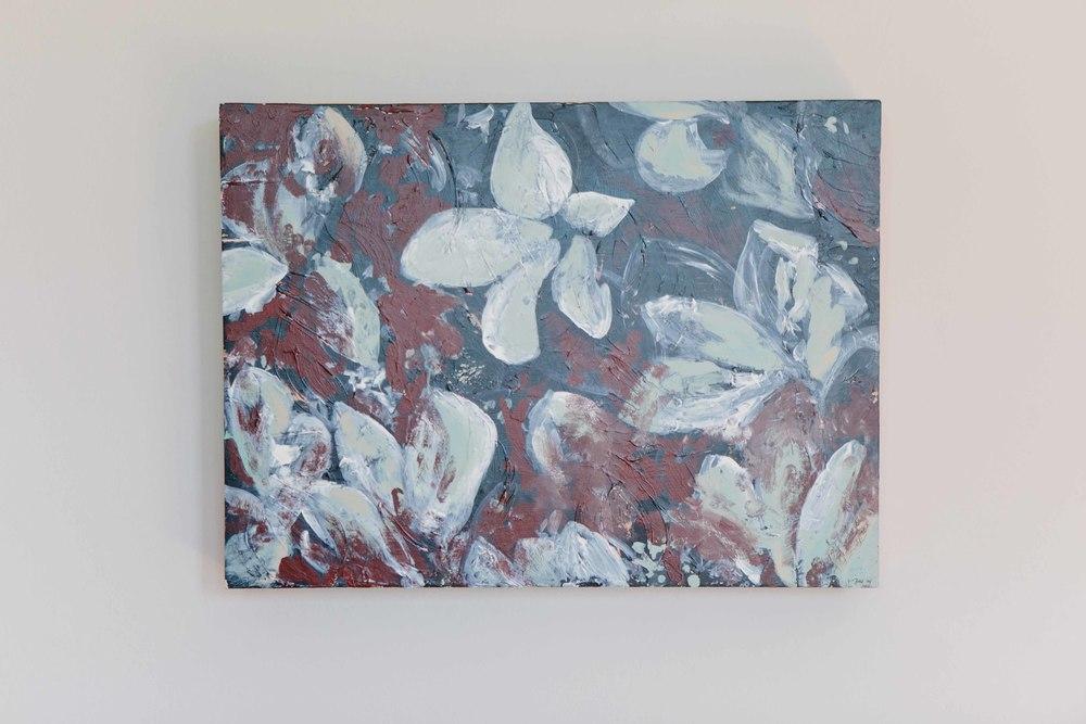 Cyclamen.Acrylic on birch panel.27 x 20 x 3.75 inches. $450.