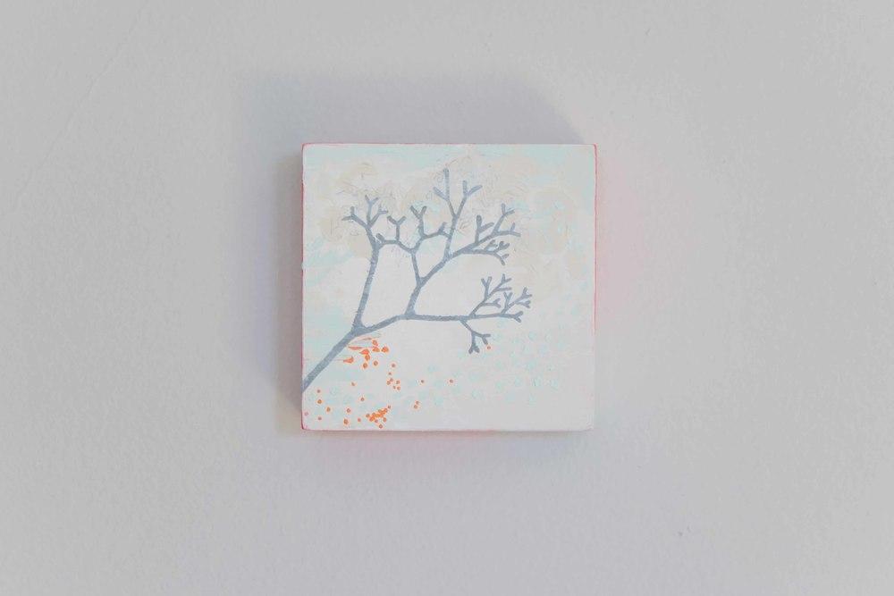 Cherry Tree.Acrylic on birch panel. 5 x 5 inches. $105.