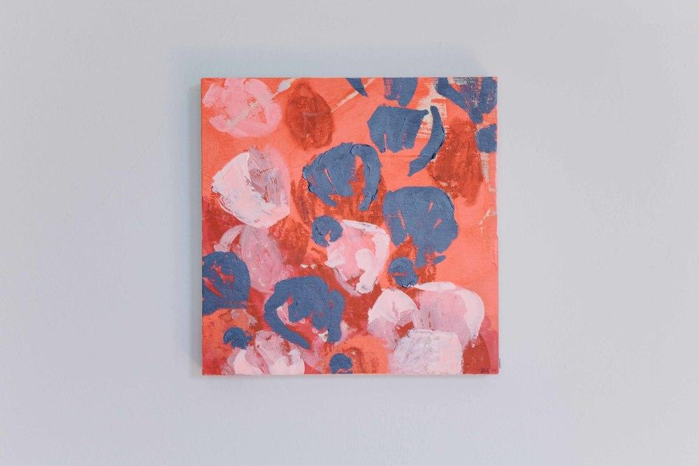 Black Icelandic Poppies.Acrylic on birch panel.12 x 12 inches. $250.