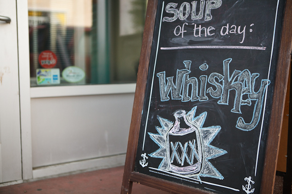 Awesomely done soup of the day, whisky