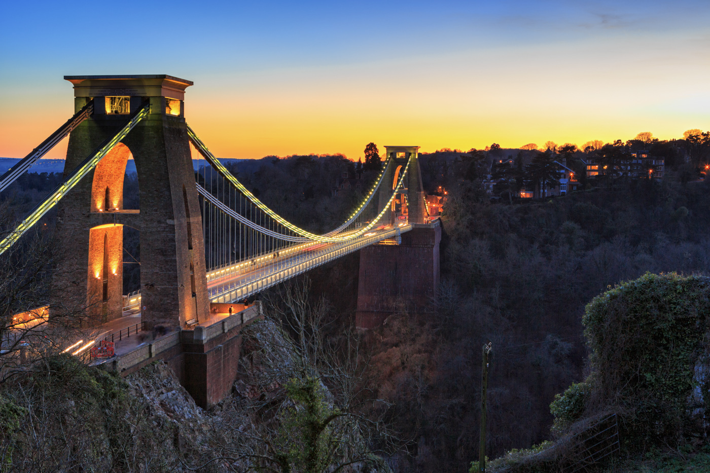 Clifton Suspension Bridge at Sunset in Bristol, UK