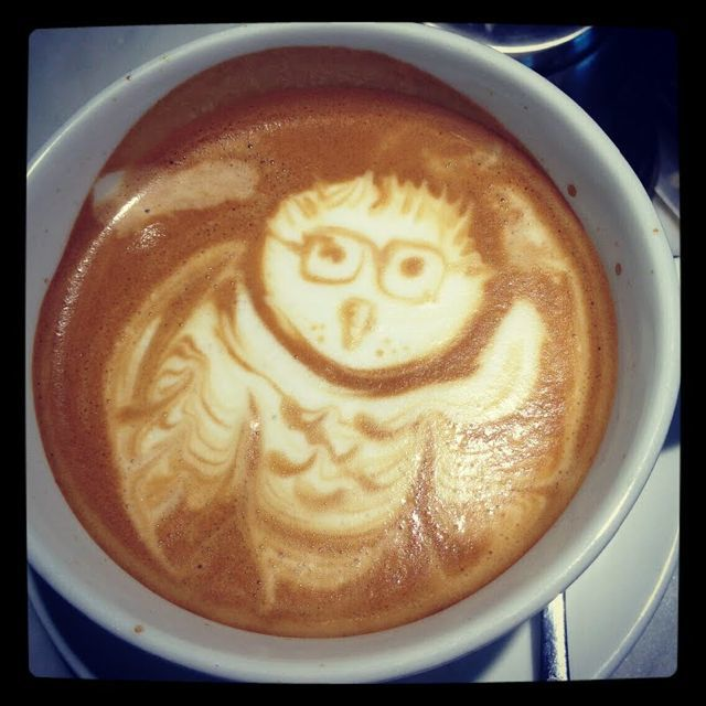 This is our friend Olivia's FIRST-EVER attempt at owl latte art. I loved my birthday Harry Potter owl :)
