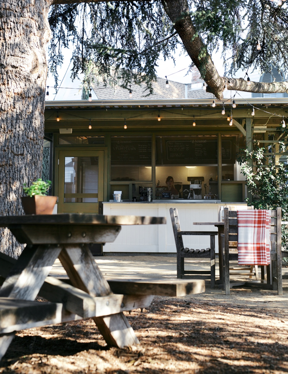 Farm to table at it's best,  Farmstead  in St. Helena is one of my favorite spots to hang out and have a cozy cup of morning coffee. Their adorable outdoor cafe sits underneath towering redwoods and is open daily.