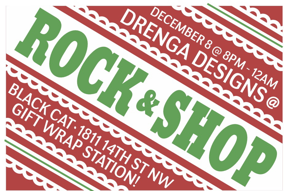 Drenga Designs selling fine house wares at DC Black Cat's Rock n Shop event Sunday Dec 8th from 8pm-Midnight! Free to attend!