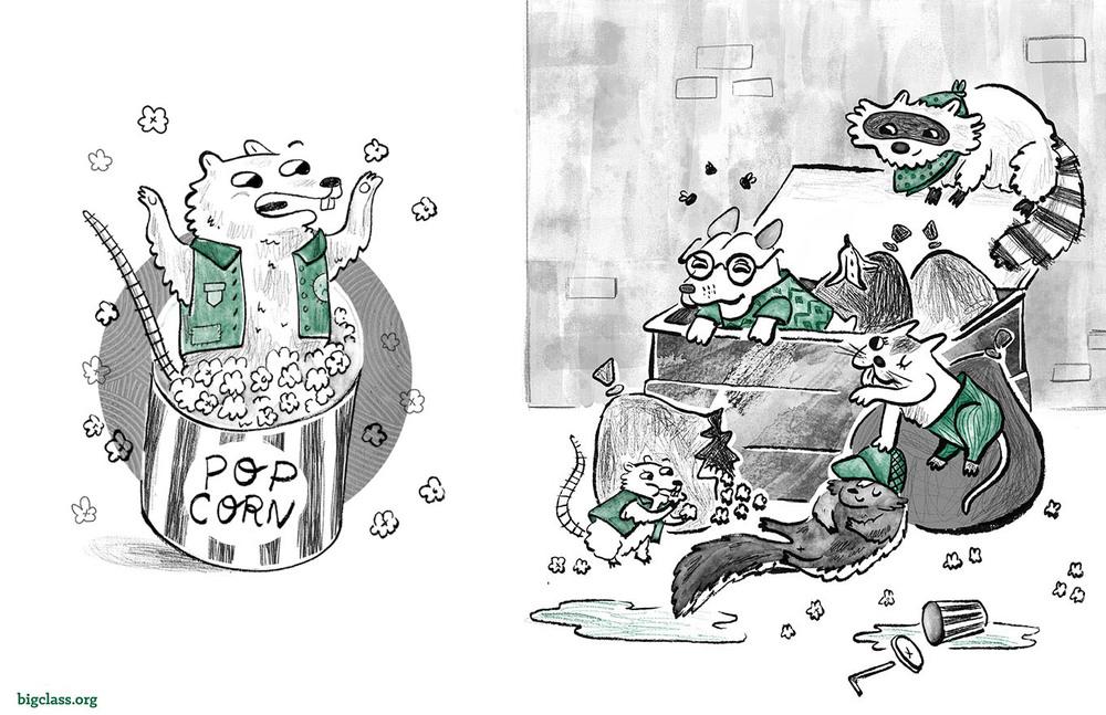 """Tale of Hot Dog"" spot illustrations"