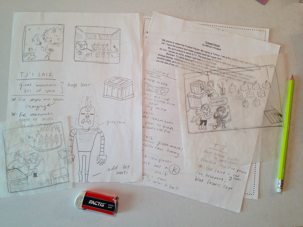 Thumbnail sketches and Character notes created in class with the author, Melven!