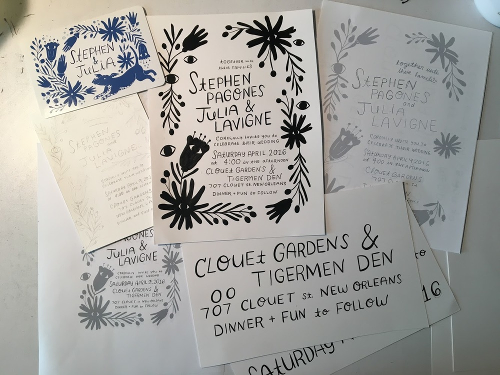 Process shots of the invitation suite.  All hand lettered and drawn!