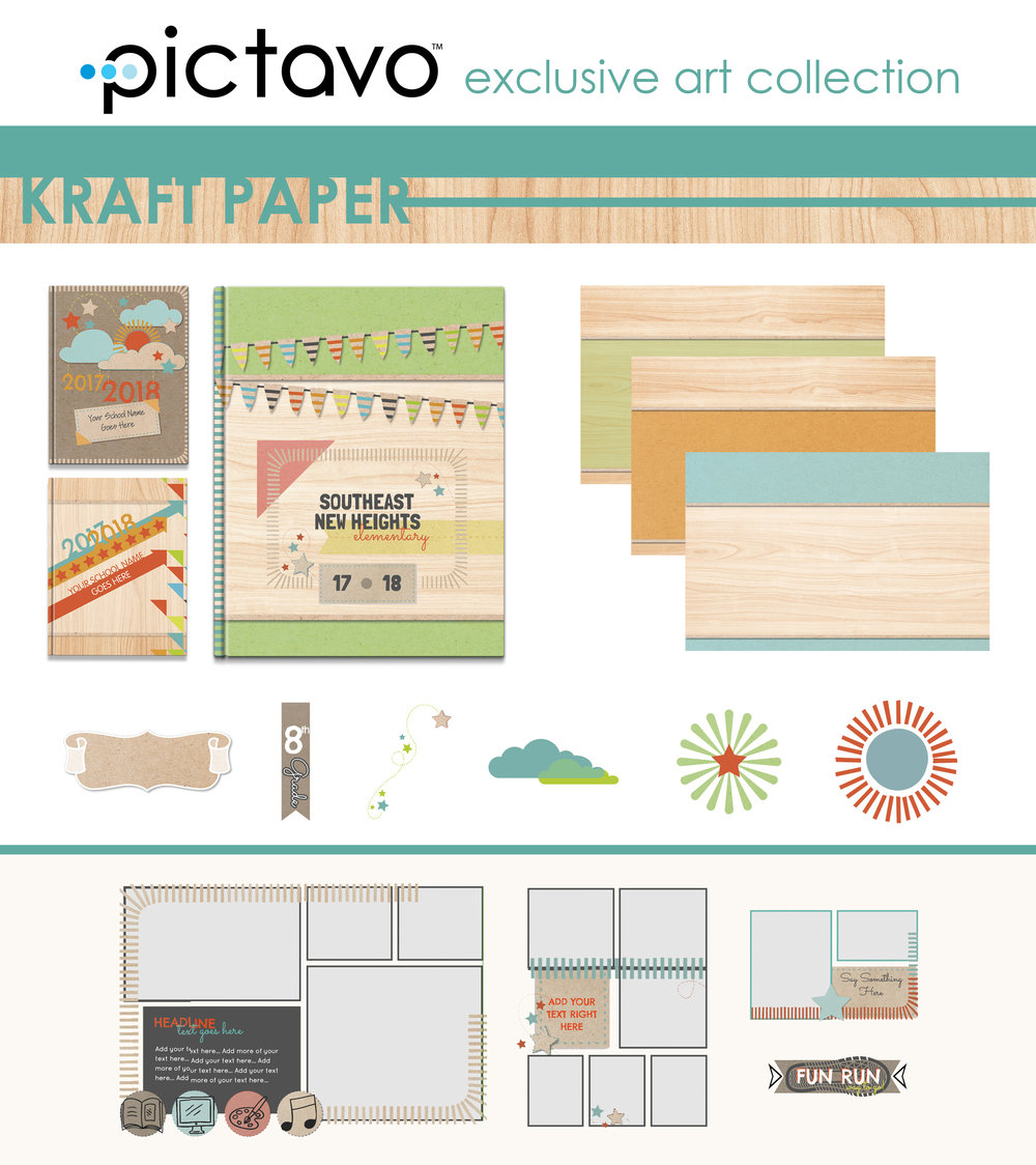 The eclectic style of the KRAFT PAPER collection combines a cheerful color palette with the look of paper crafts for the perfect mix of fresh and fun.