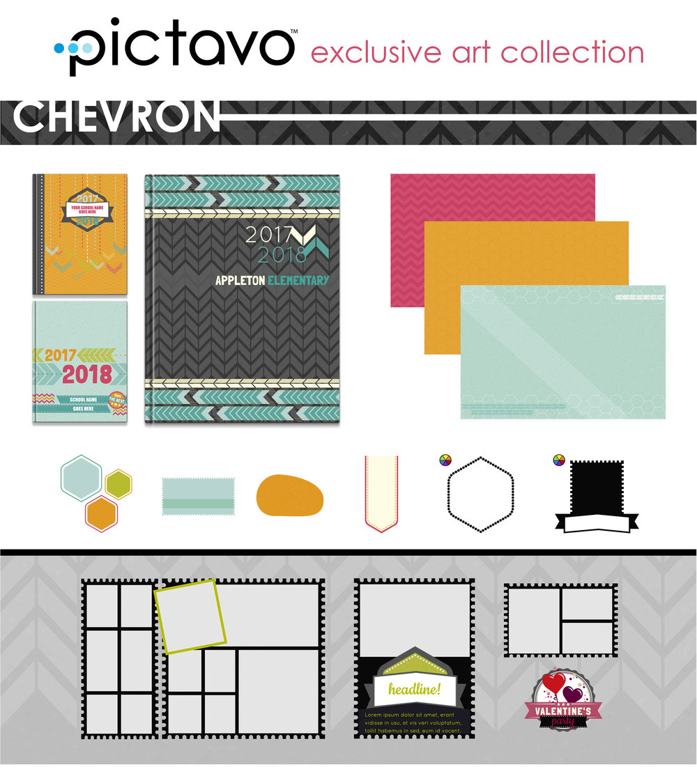 CHEVRON is full of funky patterns, banners and emblems in a bright, vibrant color palette sure to infuse a little cheer into your yearbook.