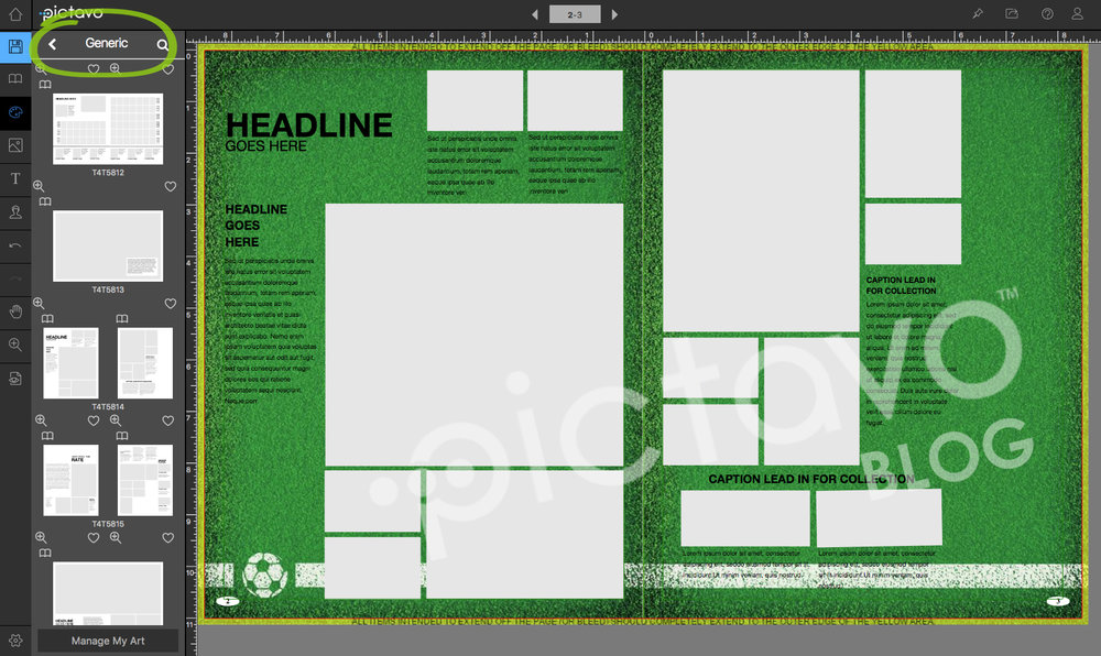 Templates T4T5814 were used here as a starting point for a yearbook layout.