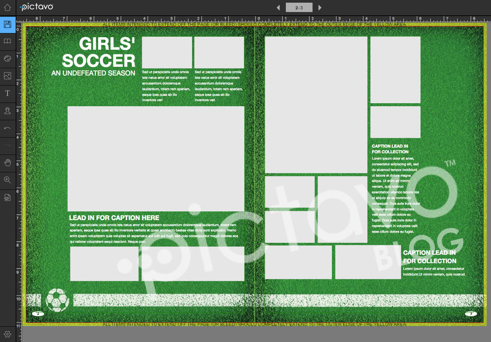The same template, modified slightly to create a layout ready for photos and copy!