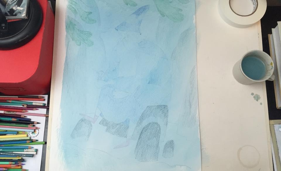 4. 1st Acryla Gouache Wash