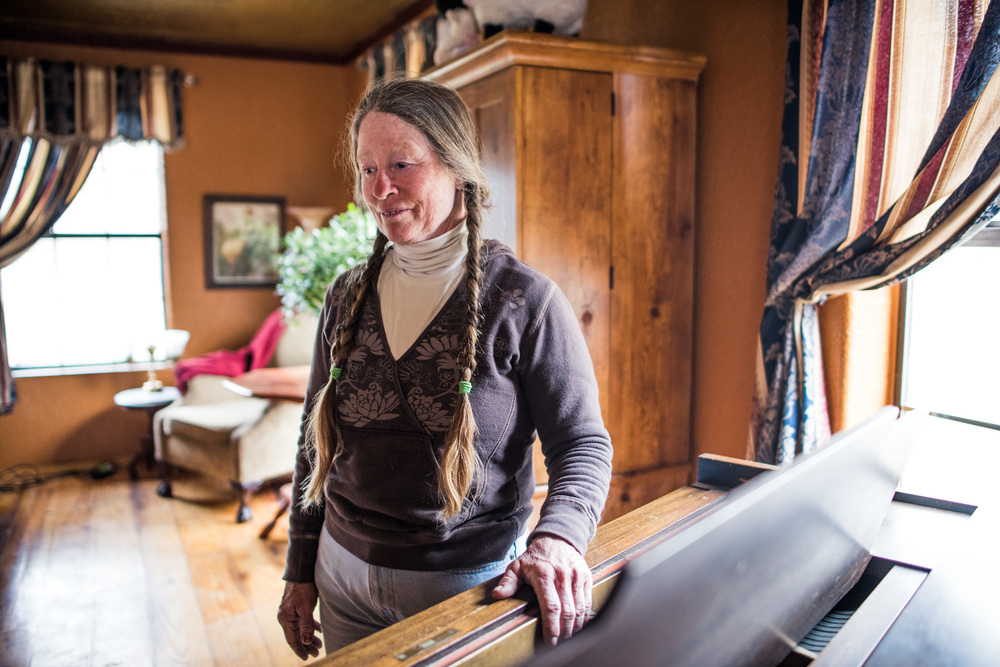 Sally Canning, a polymath whose skills range from ranching to violin and piano playing, in her ranch house near Capitan. Her father, Hap Canning, developed a breed of cattle specifically for the dry conditions of the Tularosa Valley.